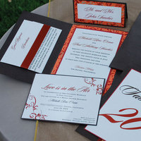 Stationery, orange, red, brown, gold, Invitations, Winery, Copper, Rust, Invitaiton, Folded, Proskalo inc