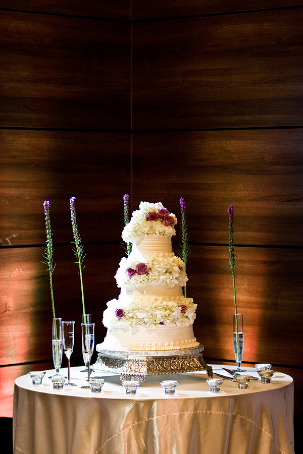 Reception, Flowers & Decor, Cakes, white, purple, green, brown, silver, cake, Flowers, Modern la weddings