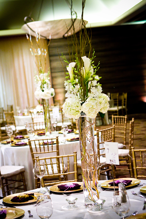Reception, Flowers & Decor, white, green, brown, Centerpieces, Flowers, Centerpiece, Calla, Orchids, Tall, Hydrangea, Lilly, Curly, Willow, Modern la weddings