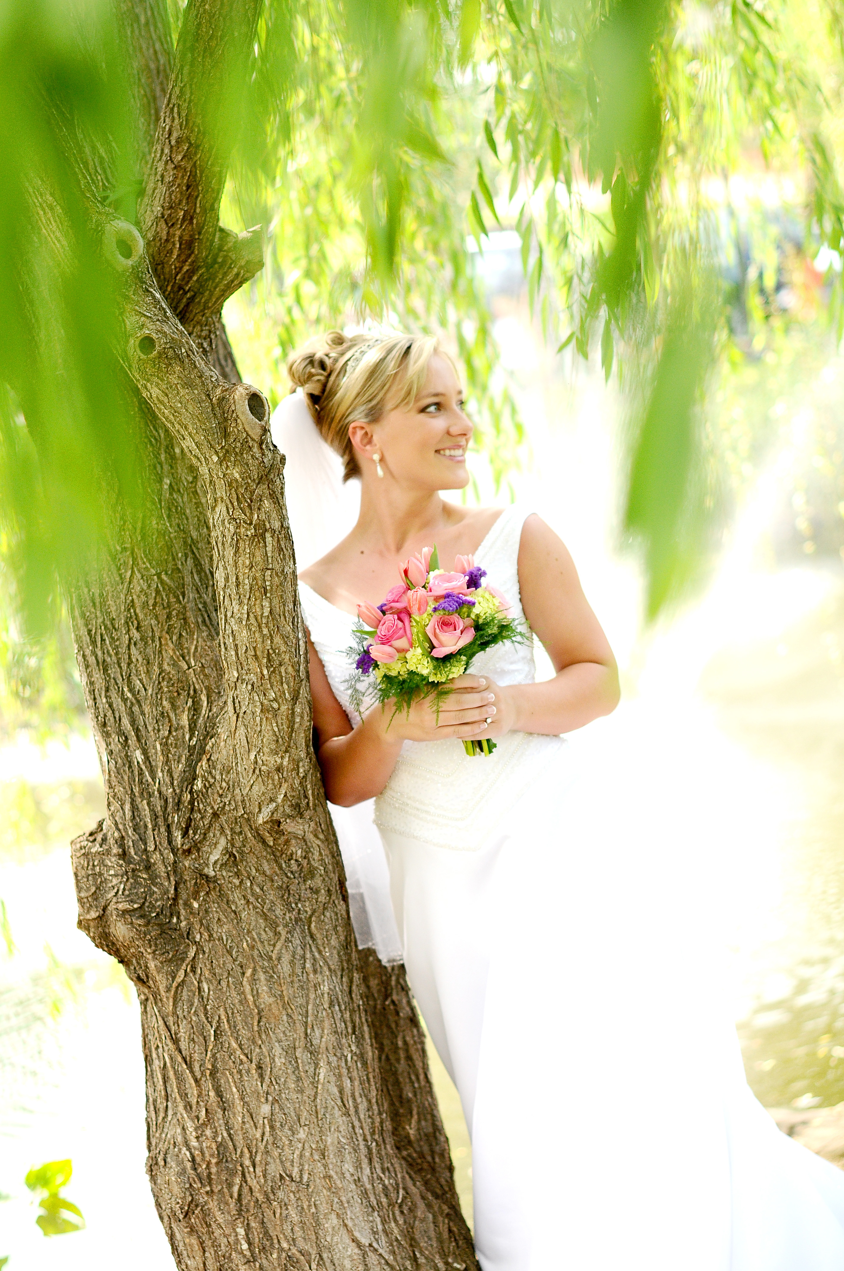 white, pink, purple, blue, green, Bride, Bridal, Pond, Davey morgan photography