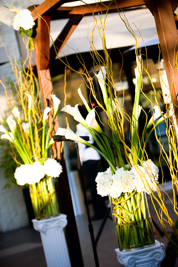 Ceremony, Flowers & Decor, white, green, brown, Ceremony Flowers, Flowers, Modern la weddings