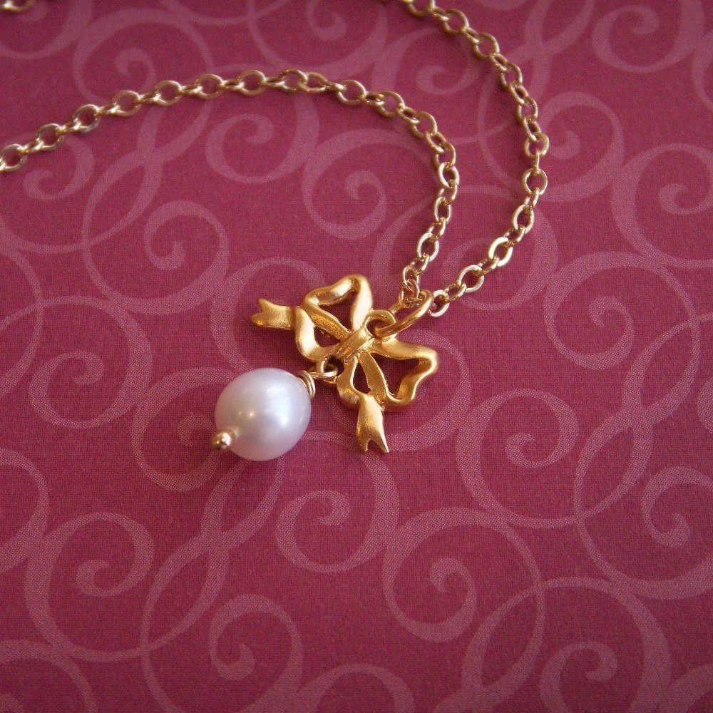 Jewelry, Bridesmaids, Bridesmaids Dresses, Fashion, white, yellow, gold, Necklaces, Ribbon, Necklace, Bow, Pearl, Knot, K garner designs, Pendant