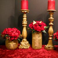 Reception, Flowers & Decor, red, gold, Centerpieces, Flowers, Centerpiece, Love, Atmosphere tablescape decor rental