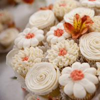 Reception, Flowers & Decor, Cakes, white, yellow, orange, cake, Faber photography
