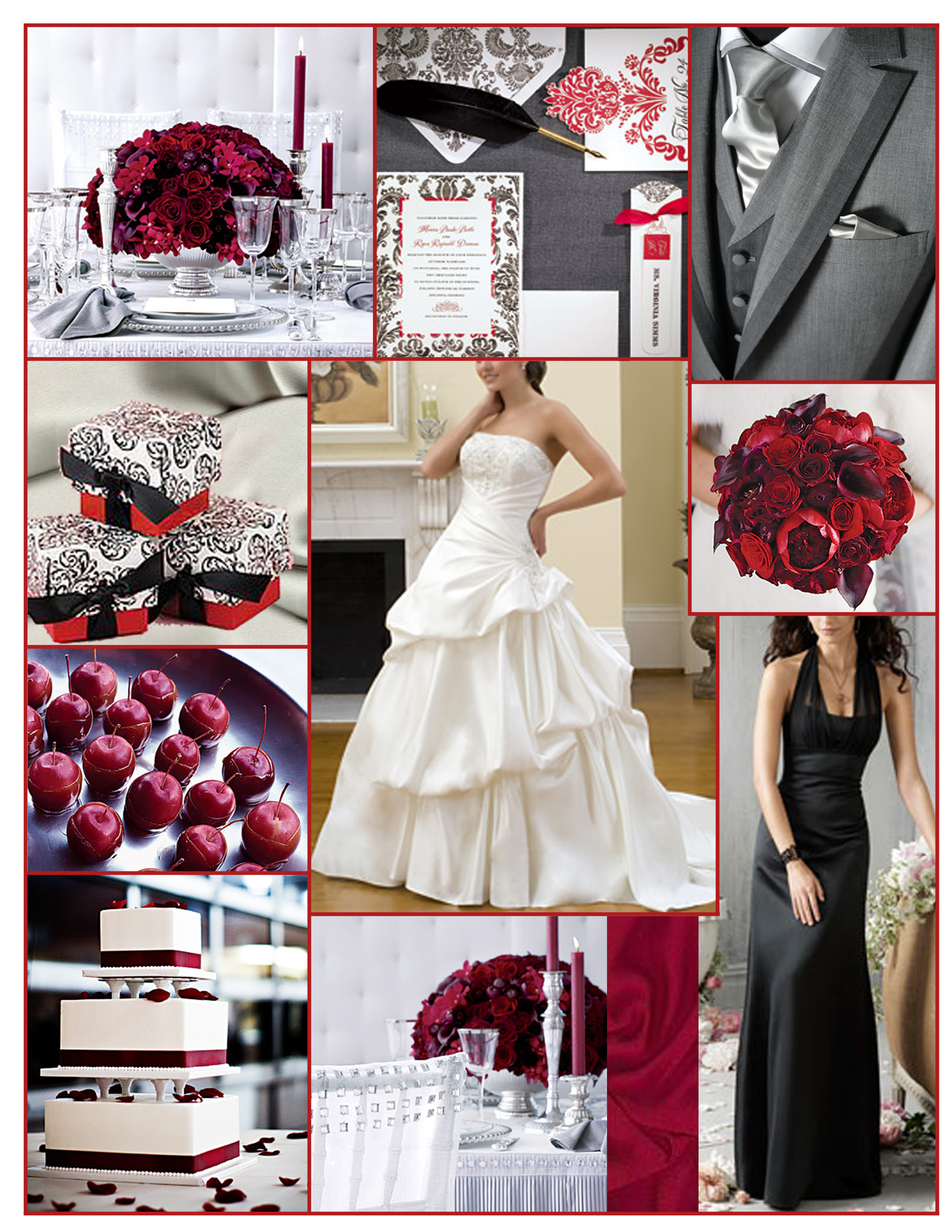 Inspiration, Reception, Flowers & Decor, Bridesmaids, Bridesmaids Dresses, Wedding Dresses, Cakes, Fashion, white, red, gray, black, cake, dress, Bridesmaid Bouquets, Flowers, Grey, Board, Jim hjelm occasions, Flower Wedding Dresses