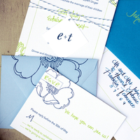 Flowers & Decor, Calligraphy, Stationery, blue, green, Invitations, Flower, Custom, Unique, Tag, Different, Twine, Paper moss