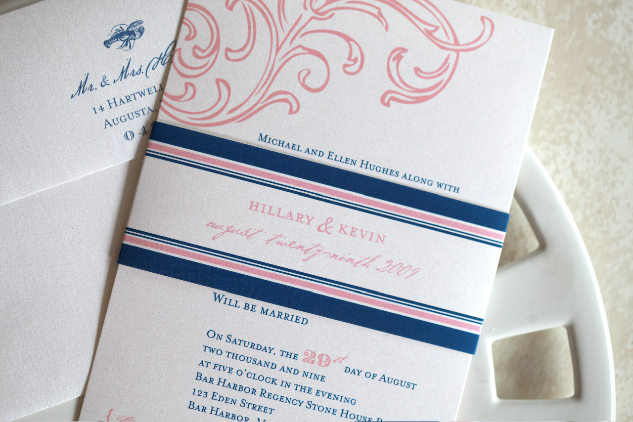 Stationery, Destinations, pink, blue, Europe, Beach, Beach Wedding Invitations, Invitations, Custom, Ocean, New, Lobster, Maine, England, Paper moss