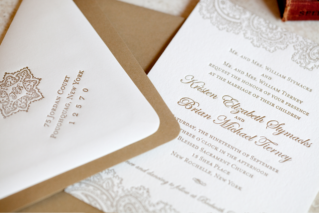 Stationery, gold, Invitations, Monogram, Custom, Letterpress, Paisley, Paper moss