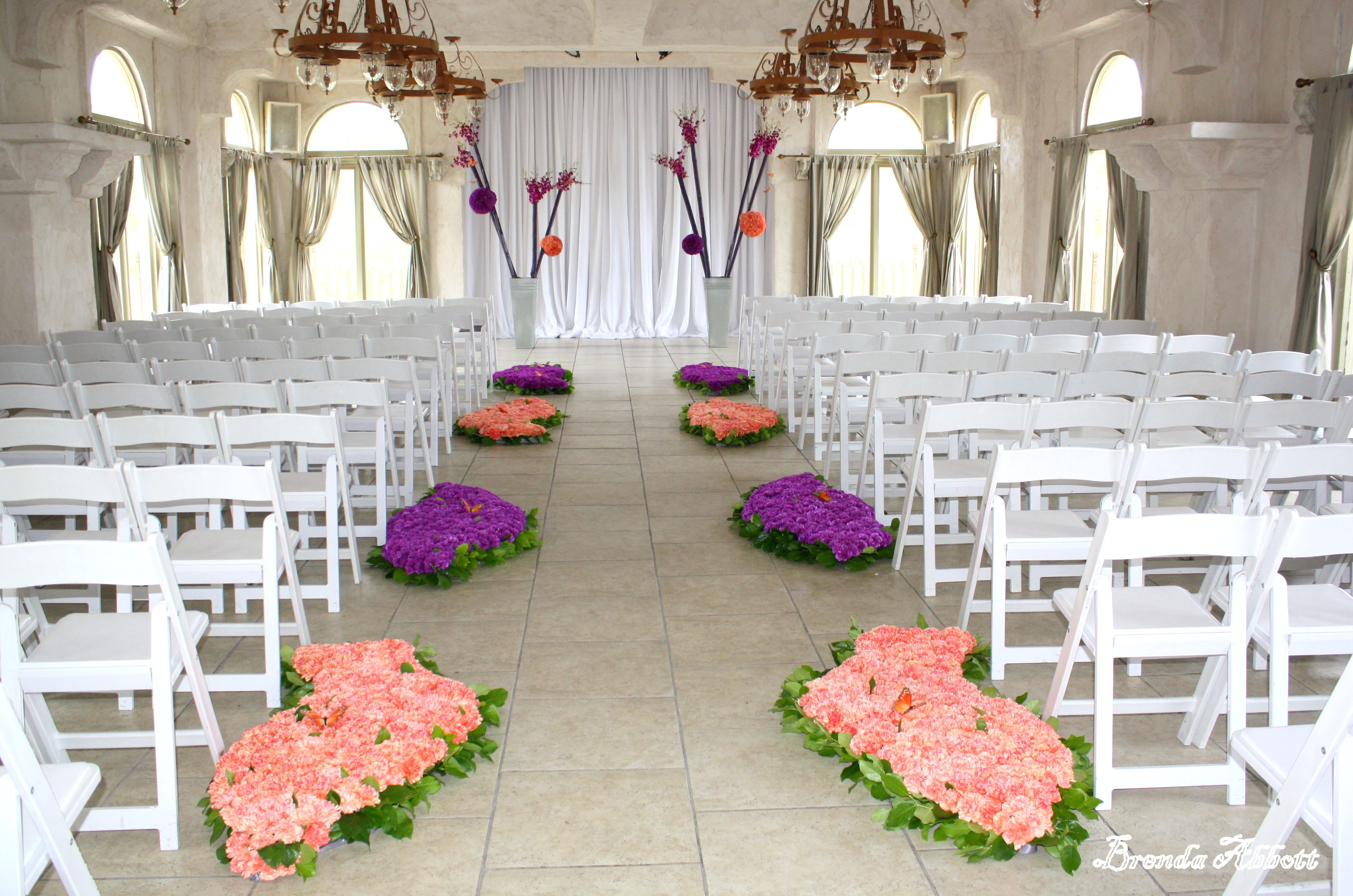 Ceremony, Flowers & Decor, orange, purple, Ceremony Flowers, Aisle Decor, Flowers, Aisle, Brenda abbott floral design
