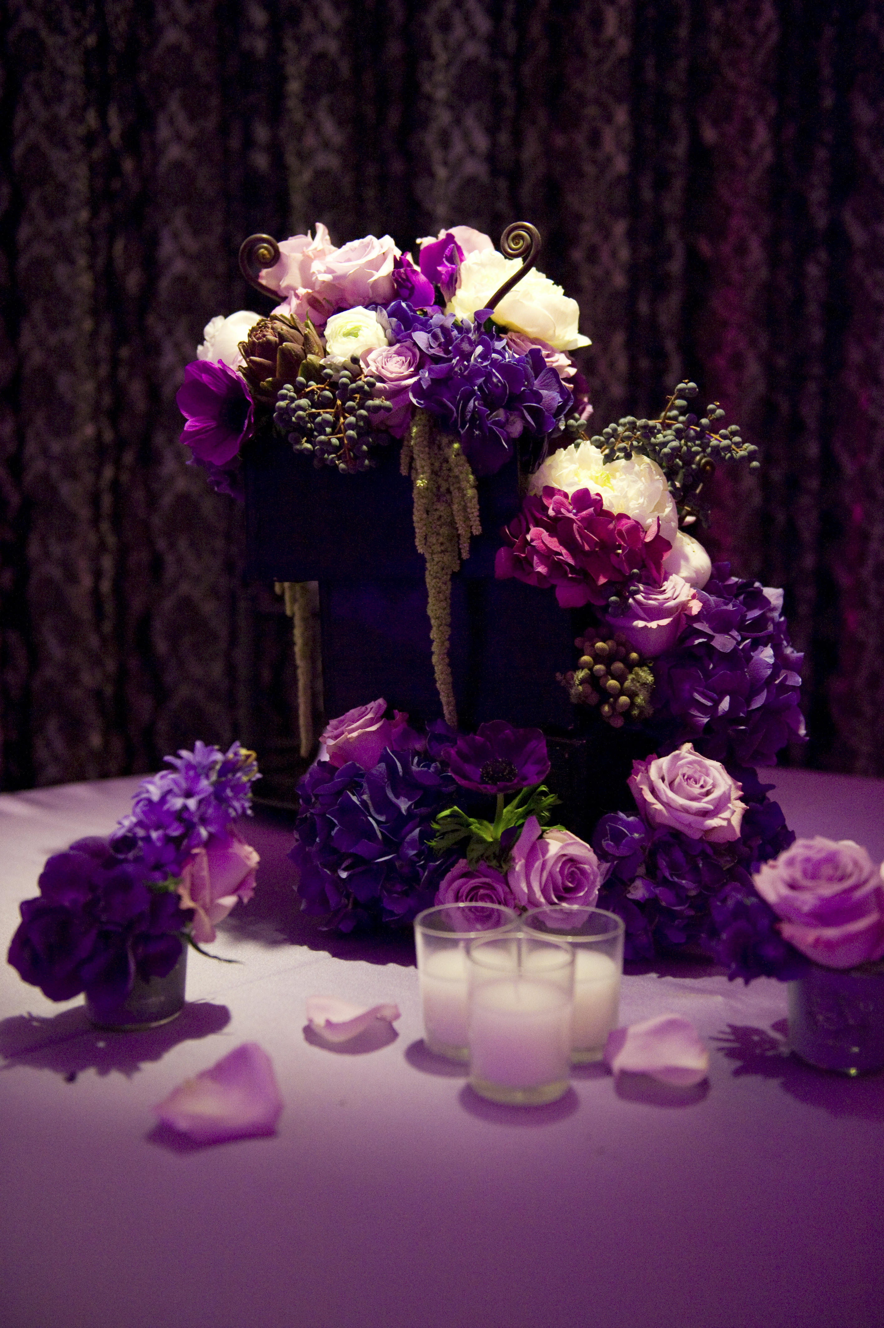 purple, Centerpieces, Winter Wedding Flowers & Decor