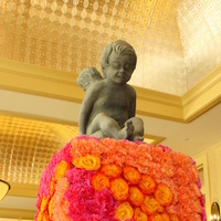 Reception, Flowers & Decor, orange, pink, red, Centerpieces, Garden, Flowers, Garden Wedding Flowers & Decor, Centerpiece, Escort, Table, Card, Brenda abbott floral design, Cherub