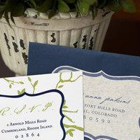 Stationery, blue, green, Fall, Modern, Invitations, Custom, Tree, Nature, Boston, Paper moss