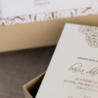 Stationery, gold, Invitations, Custom, Bridal, Unique, Bamboo, Letterpress, Box, Shower, Moss, Paper moss