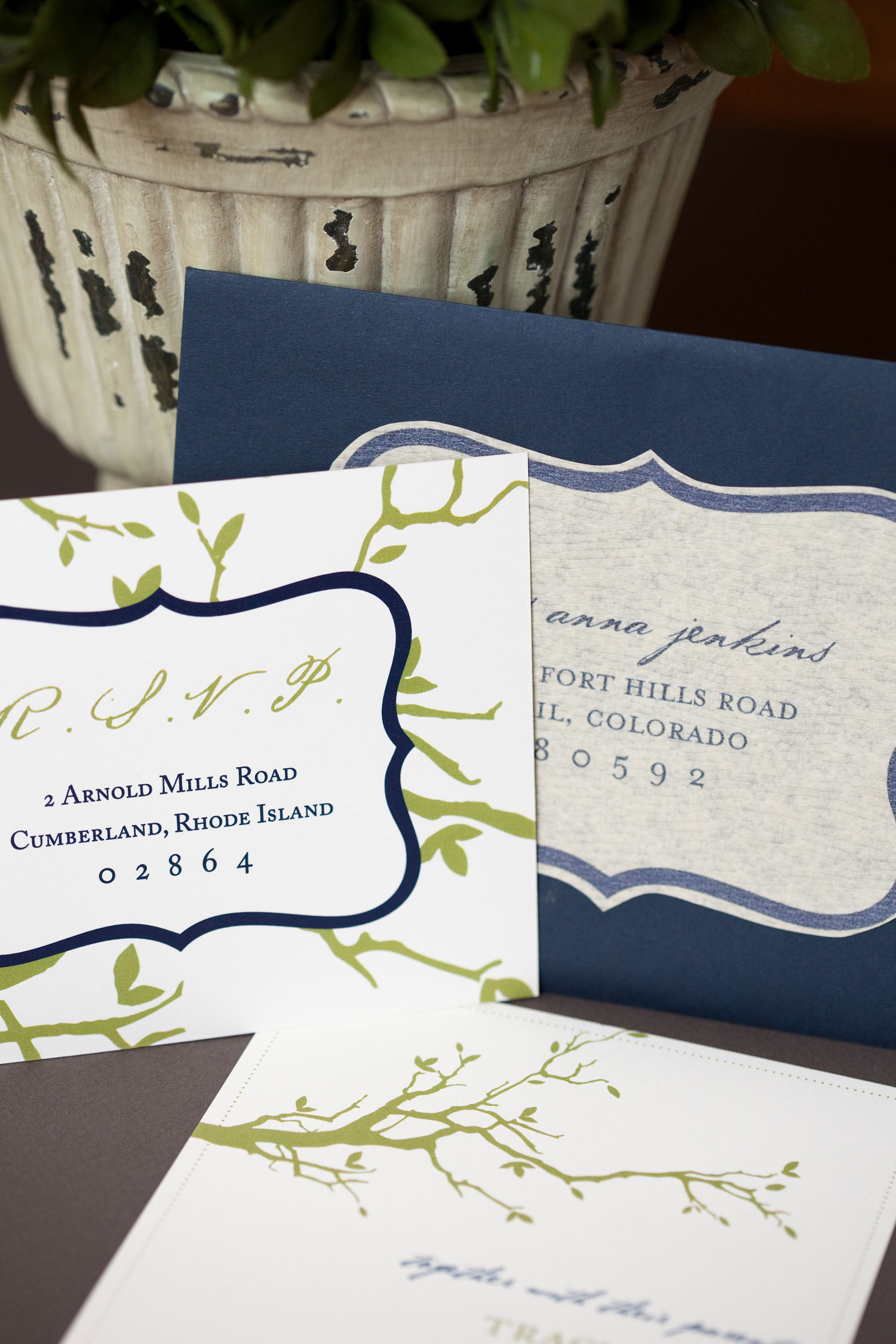 Stationery, blue, green, Fall, Modern, Invitations, Custom, Tree, Nature, Boston, Paper moss