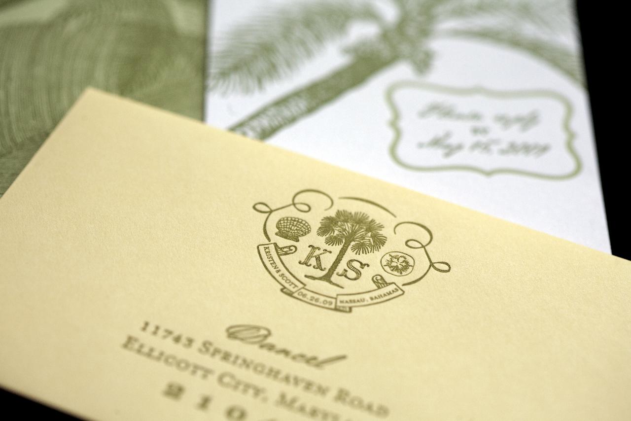 Stationery, Destinations, yellow, green, Beach, Invitations, Custom, Destination, Letterpress, Pocket, Bahama, Paper moss