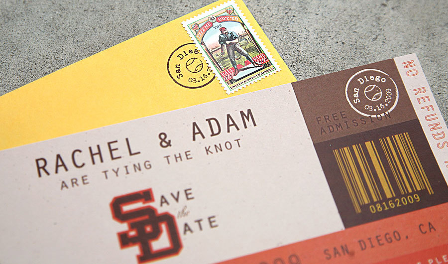 Stationery, white, yellow, orange, brown, gold, Invitations, Save-the-Dates, Ticket, Custom, Colorful, Baseball, The, Save, Date, San, Diego, Paper moss, Padres