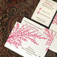 Stationery, red, brown, Fall, Invitations, Custom, Nature, Shimmer, Paper moss