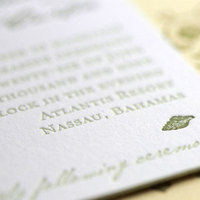 Stationery, Destinations, yellow, green, Beach, Invitations, Custom, Destination, Letterpress, Pocket, Bahama, Paper moss