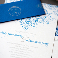Stationery, blue, silver, Invitations, Southern, Custom, Texas, Shimmer, Cobalt, Paper moss