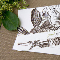 Stationery, green, brown, Eco-Friendly, Invitations, Custom, Postcard, Seattle, Magnolia, Paper moss