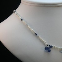 Jewelry, white, blue, Necklaces, Something blue, Brides, Necklace, Jyl walker jewelry designs