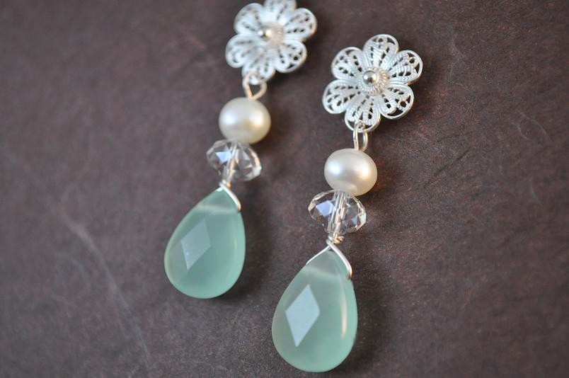 Flowers & Decor, Jewelry, white, green, silver, Earrings, Flower, Bridesmaid, Bridal, Brides, Long, Crystal, Weddings, Pearl, Stone, Filigree, Large, Sterling, Classy, Lacy, Chalcedony, Aphrodite888etsycom, Aphrodite888