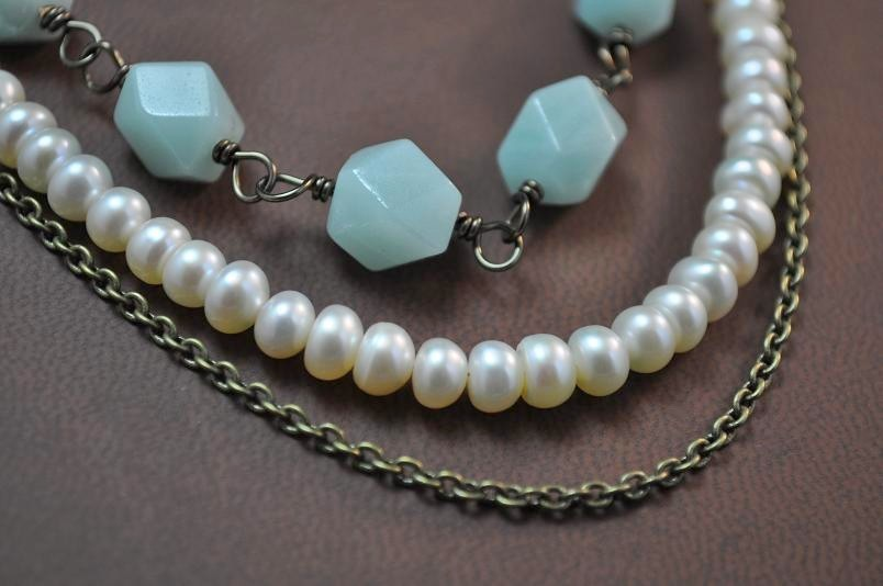 Jewelry, white, blue, brown, Necklaces, Vintage, Bridesmaid, Bridal, Long, Necklace, Weddings, Style, Pearl, Freshwater, Strand, Brass, Triple, Aphrodite888etsycom, Aphrodite888, Amazonite