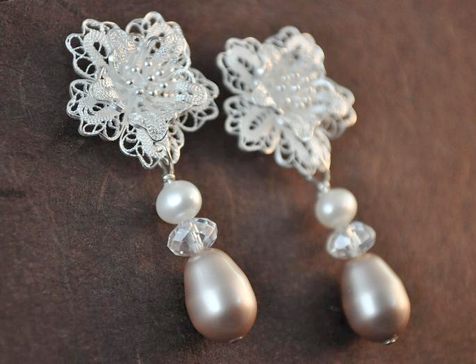 Flowers & Decor, Jewelry, white, brown, silver, Earrings, Flower, Bridesmaid, Bridal, Brides, Long, Crystal, Weddings, Teardrop, Pearl, Filigree, Large, Sterling, Classy, Lacy, Chalcedony, Aphrodite888etsycom, Aphrodite888