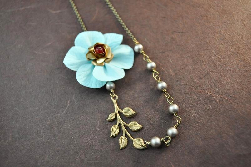 Flowers & Decor, Jewelry, ivory, blue, brown, Necklaces, Flower, Bridesmaid, Bridal, Champagne, Leaf, Crystal, Necklace, Weddings, Pearl, Silk, Charm, Aphrodite888etsycom, Aphrodite888