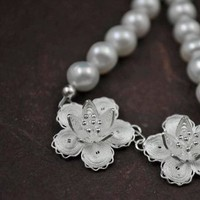 Flowers & Decor, Jewelry, silver, Bride, Flower, Bridesmaid, Bridal, Lace, Weddings, Pearl, Filigree, Freshwater, Sterling, Aphrodite888etsycom