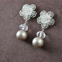 Flowers & Decor, Jewelry, white, silver, Earrings, Flower, Bridesmaid, Bridal, Brides, Long, Crystal, Weddings, Pearl, Filigree, Large, Freshwater, Sterling, Classy, Lacy, Aphrodite888etsycom, Aphrodite888