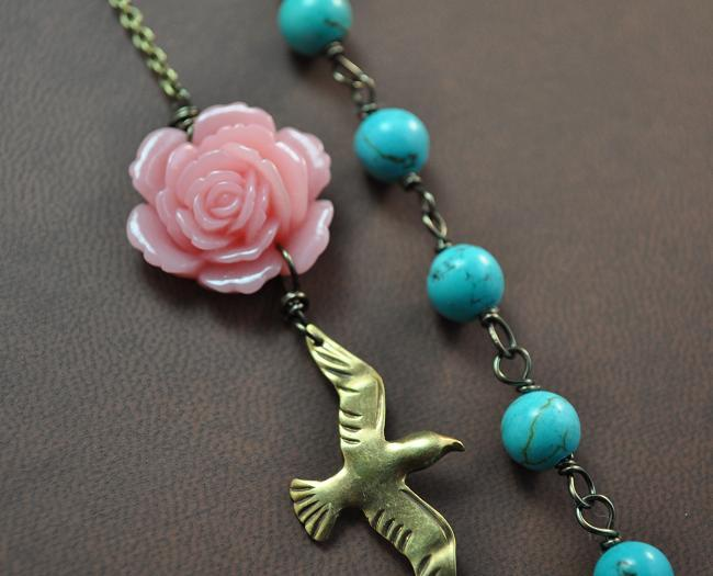Flowers & Decor, Jewelry, pink, blue, brown, Vintage, Flower, Bridesmaid, Bridal, Weddings, Style, Turquoise, Charm, Acrylic, Antique, Brass, Fuscia, Aphrodite888etsycom, Aphrodite888, Bid