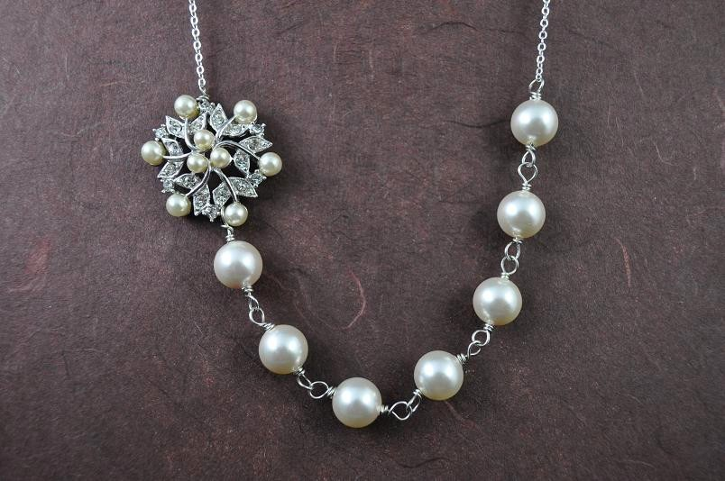Jewelry, white, silver, Necklaces, Vintage, Bridal, Brides, Crystal, Necklace, Weddings, Rhinestone, Pearl, Off, Aphrodite888etsycom, Aphrodite888