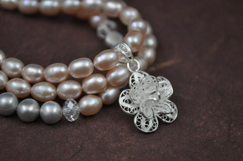 Flowers & Decor, Jewelry, pink, silver, Bracelets, Flower, Bridal, Brides, Weddings, Bracelet, Pearl, Large, Freshwater, Sterling, Lacy, Aphrodite888etsycom, Aphrodite888