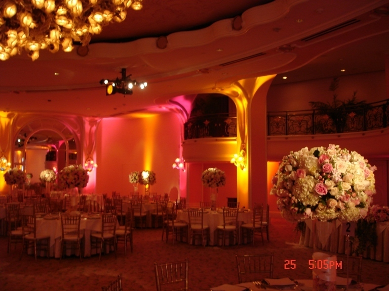 Reception, Flowers & Decor, orange, pink, gold, Tables & Seating, Chiavari, And, Chairs, Uplighting, Imperial party rentals