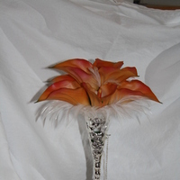 Beauty, Flowers & Decor, orange, silver, Feathers, Flowers, Holder, Feather