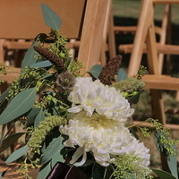 Ceremony, Flowers & Decor, white, green, brown, Ceremony Flowers, Aisle Decor, Flowers, Chocolate, Chair, Aisle, Wheat, The blue orchid, Pods, China mums, Chair markers, Chair flowers, Eucaplytus