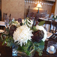 Flowers & Decor, white, green, brown, Centerpieces, Flowers, Centerpiece, Artichokes, The blue orchid, China mums