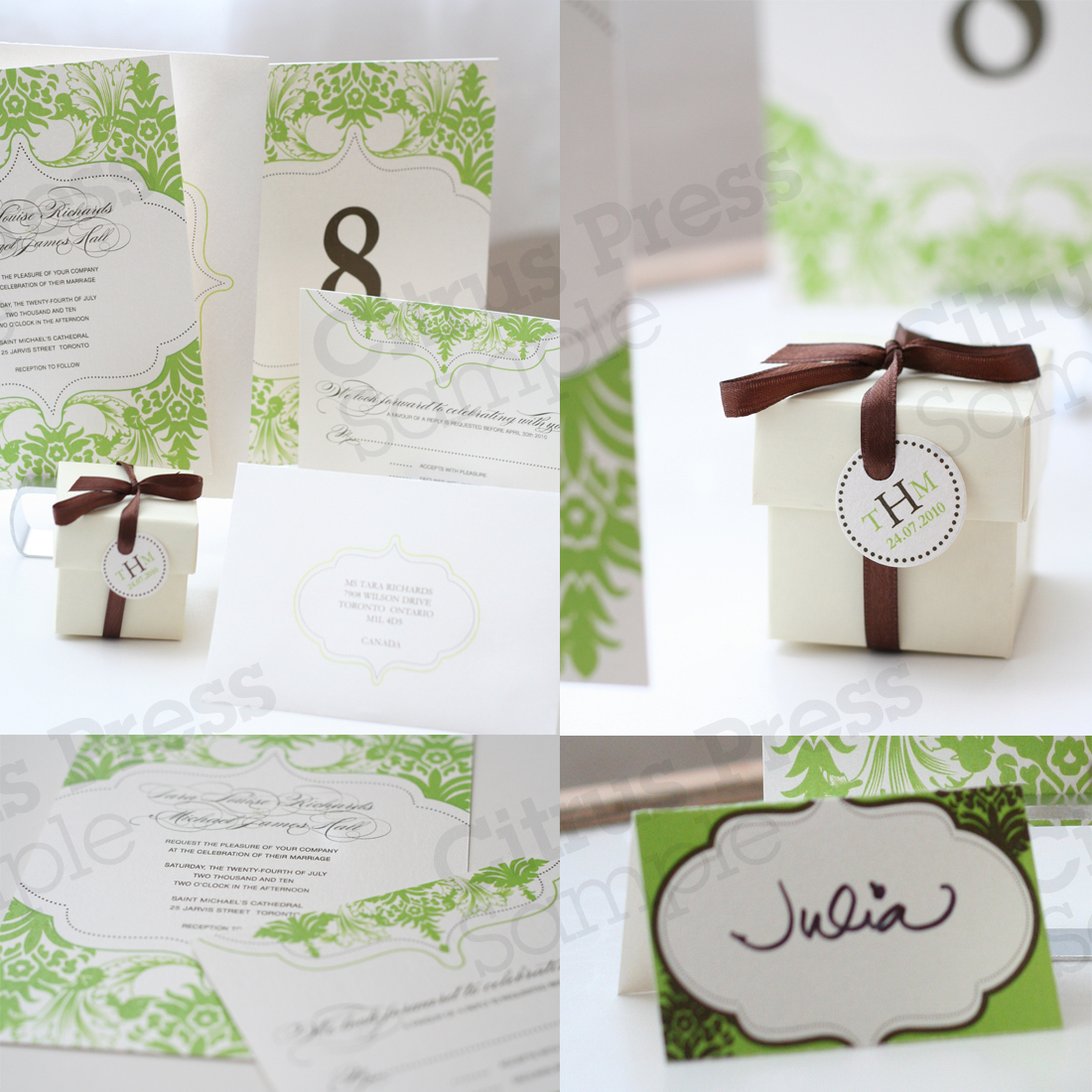 Stationery, white, yellow, green, brown, black, silver, Vintage, Classic, Invitations, Lovely, Damask, Filigree, Citrus press co