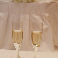Reception, Flowers & Decor, Registry, ivory, blue, Drinkware, Flowers, Toast, Champagne, Glasses, Intertwined weddings events