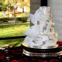 Cakes, white, red, silver, cake, Cutting, Jeseca creations