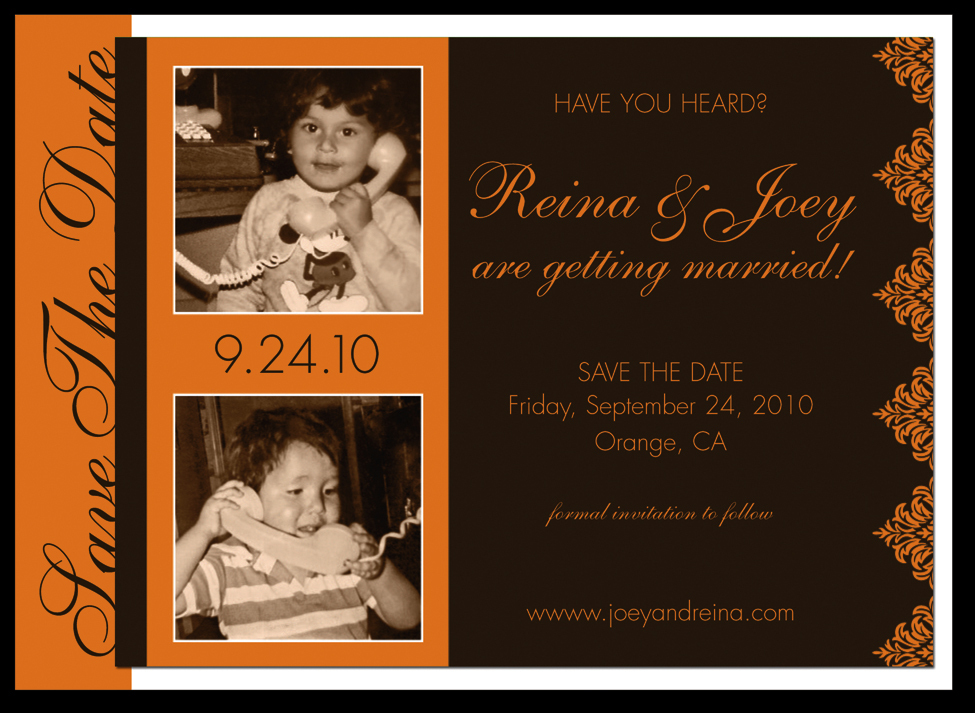 Stationery, orange, brown, Invitations, Save-the-Dates