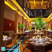 Reception, Flowers & Decor, Centerpieces, Centerpiece, Uplighting, Palms