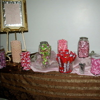 Reception, Flowers & Decor, Favors & Gifts, pink, brown, Favors, Candy, Buffet