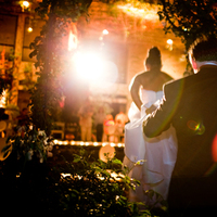 Reception, Flowers & Decor, Wedding Dresses, Fashion, white, orange, red, black, gold, dress, Lighting, Bride, Groom, Back, Flare, Natural, Night, Voir venir photography