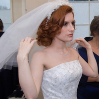 Beauty, Jewelry, Veils, Fashion, red, Makeup, Curly Hair, Veil, Hair, Strapless, Strapless Wedding Dresses, Curly, Glynne davies make-up and hair