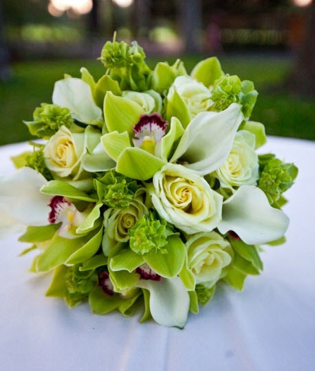 bridal bouquet of green roses and cymbidium orchids white miniature calla lilies and bells of. Black Bedroom Furniture Sets. Home Design Ideas