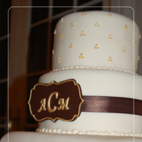 Reception, Flowers & Decor, Cakes, white, ivory, brown, gold, cake, Monogrammed Wedding Cakes, Ribbon Wedding Cakes, Monogram, Wedding, Chocolate, Ribbon, Edmonton, Nuance occasions