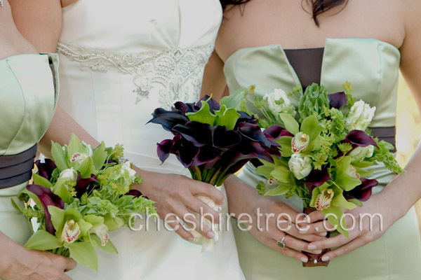 Flowers & Decor, Bridesmaids, Bridesmaids Dresses, Destinations, Fashion, purple, green, North America, Bride Bouquets, Bridesmaid Bouquets, Bride, Flowers, Bouquet, Calla, Lilies, Orchids, Tulips, Cymbidium, Castle, Bells, Ireland, New york, Hudson, Parrot, Magenta, Cheshire tree floral designs, Buplureum, Tarrytown, Bridesmai, Flower Wedding Dresses
