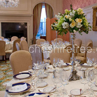 Reception, Flowers & Decor, Destinations, white, yellow, green, silver, North America, Centerpieces, Flowers, Roses, Centerpiece, Hydrangea, New york, Stock, Pedestal, Candlestick, Cheshire tree floral designs, Scarborough, Hollow, Sleepy